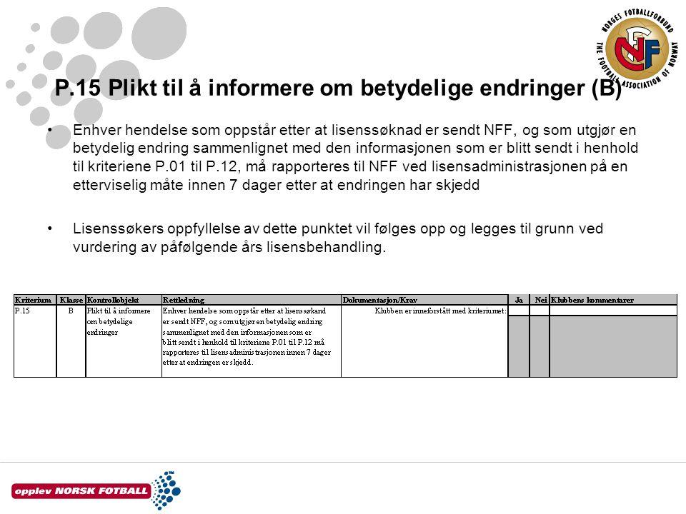 P.15 Plikt til å informere om betydelige endringer (B) Enhver hendelse som oppstår etter at lisenssøknad er sendt NFF, og som utgjør en betydelig endr