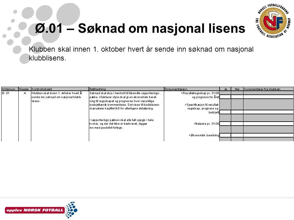 Ø.01 – Søknad om nasjonal lisens Klubben skal innen 1. oktober hvert år sende inn søknad om nasjonal klubblisens.