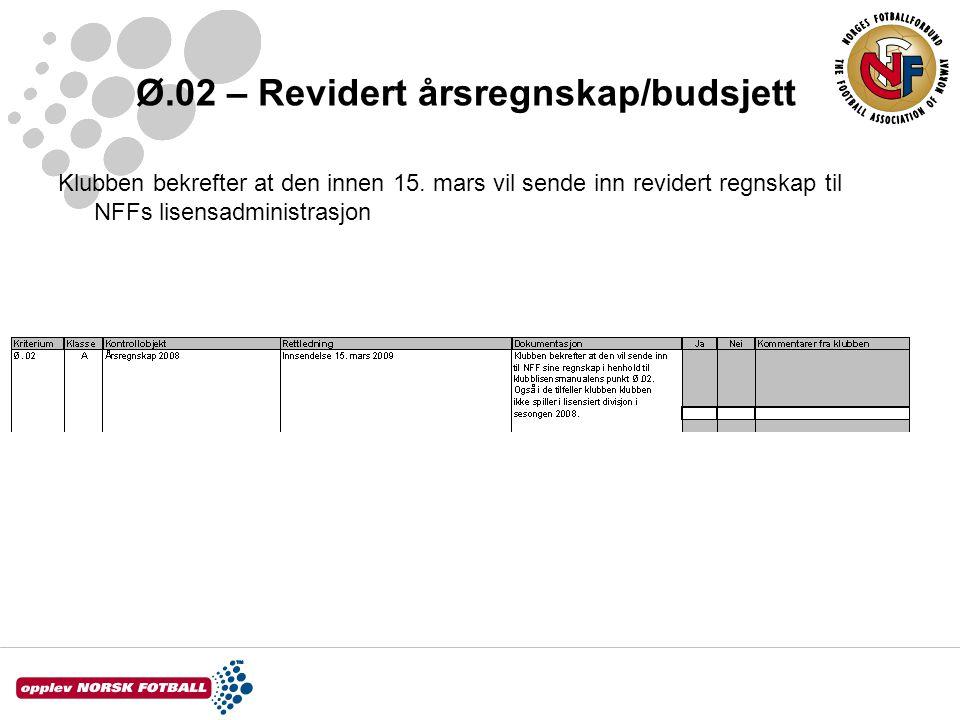 Ø.02 – Revidert årsregnskap/budsjett Klubben bekrefter at den innen 15. mars vil sende inn revidert regnskap til NFFs lisensadministrasjon