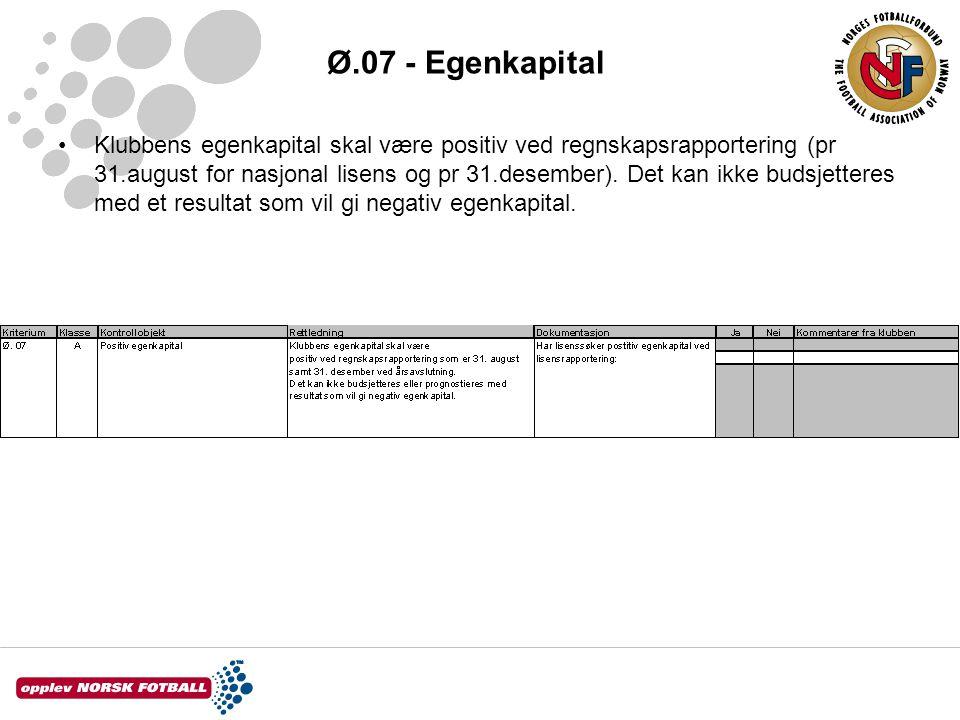 Ø.07 - Egenkapital Klubbens egenkapital skal være positiv ved regnskapsrapportering (pr 31.august for nasjonal lisens og pr 31.desember). Det kan ikke