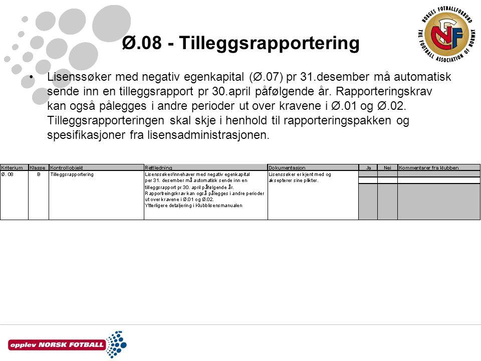 Ø.08 - Tilleggsrapportering Lisenssøker med negativ egenkapital (Ø.07) pr 31.desember må automatisk sende inn en tilleggsrapport pr 30.april påfølgend