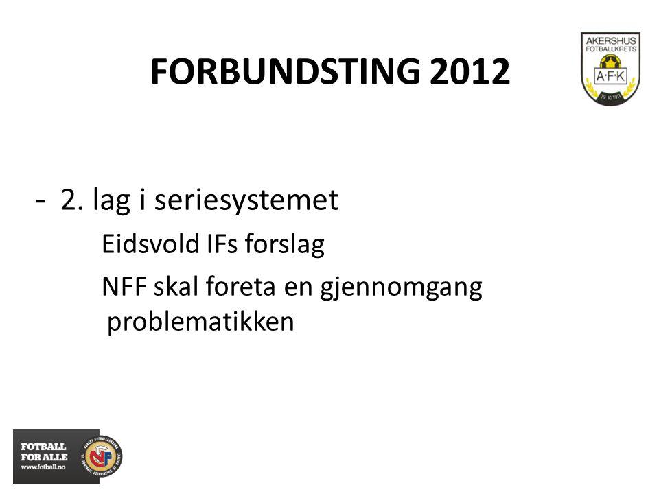 FORBUNDSTING 2012 - 2. lag i seriesystemet Eidsvold IFs forslag NFF skal foreta en gjennomgang problematikken