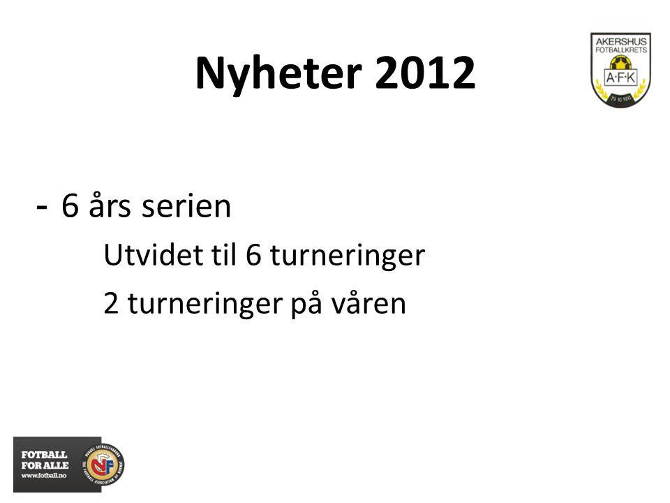 Nyheter 2012 - 6 års serien Utvidet til 6 turneringer 2 turneringer på våren