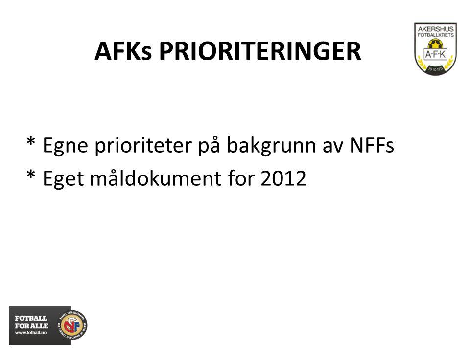 AFKs PRIORITERINGER * Egne prioriteter på bakgrunn av NFFs * Eget måldokument for 2012
