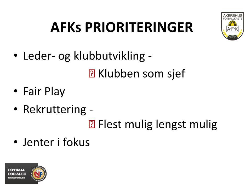 AFKs PRIORITERINGER Leder- og klubbutvikling -  Klubben som sjef Fair Play Rekruttering -  Flest mulig lengst mulig Jenter i fokus