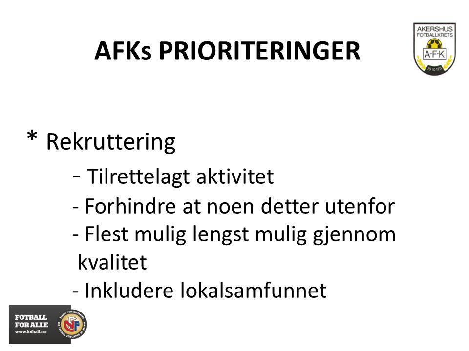 AFKs PRIORITERINGER * Rekruttering - Tilrettelagt aktivitet - Forhindre at noen detter utenfor - Flest mulig lengst mulig gjennom kvalitet - Inkludere