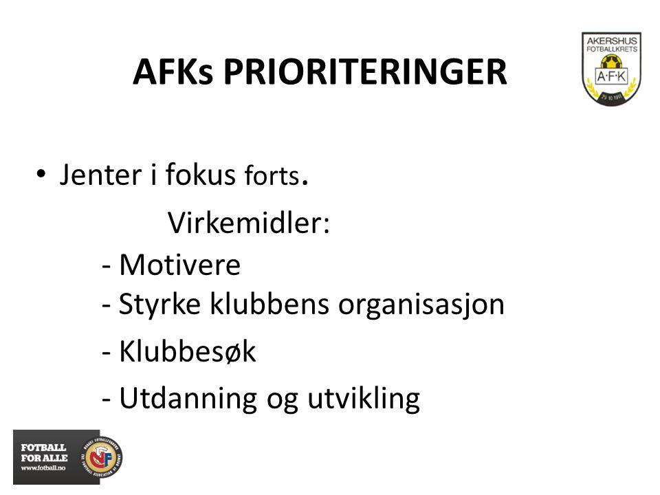 AFKs PRIORITERINGER Jenter i fokus forts. Virkemidler: - Motivere - Styrke klubbens organisasjon - Klubbesøk - Utdanning og utvikling