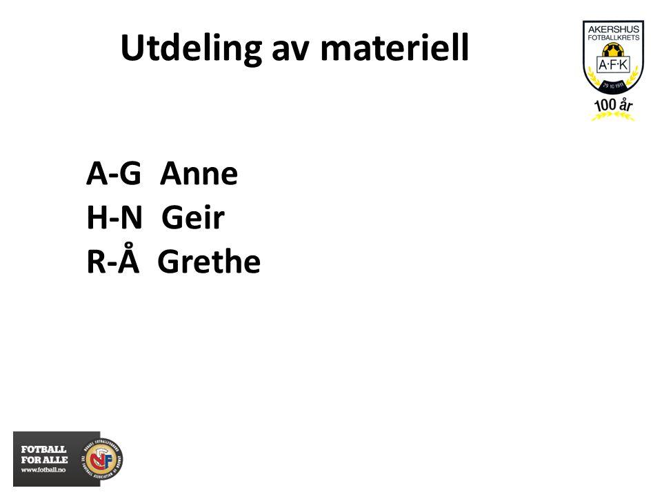 A-G Anne H-N Geir R-Å Grethe Utdeling av materiell