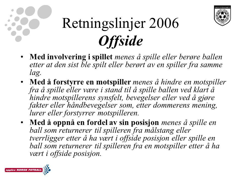 Retningslinjer 2006 Offside Med involvering i spillet menes å spille eller berøre ballen etter at den sist ble spilt eller berørt av en spiller fra sa