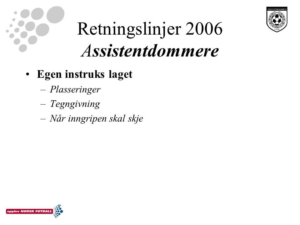 Retningslinjer 2006 Assistentdommere Egen instruks laget –Plasseringer –Tegngivning –Når inngripen skal skje