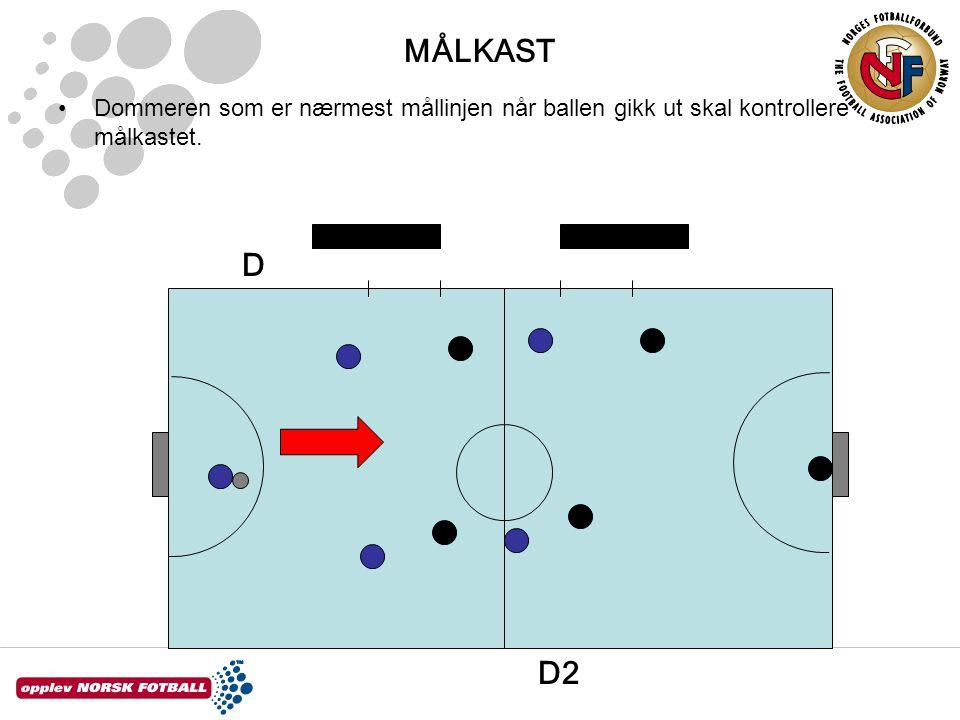 Dommeren som er nærmest mållinjen når ballen gikk ut skal kontrollere målkastet. D2 D