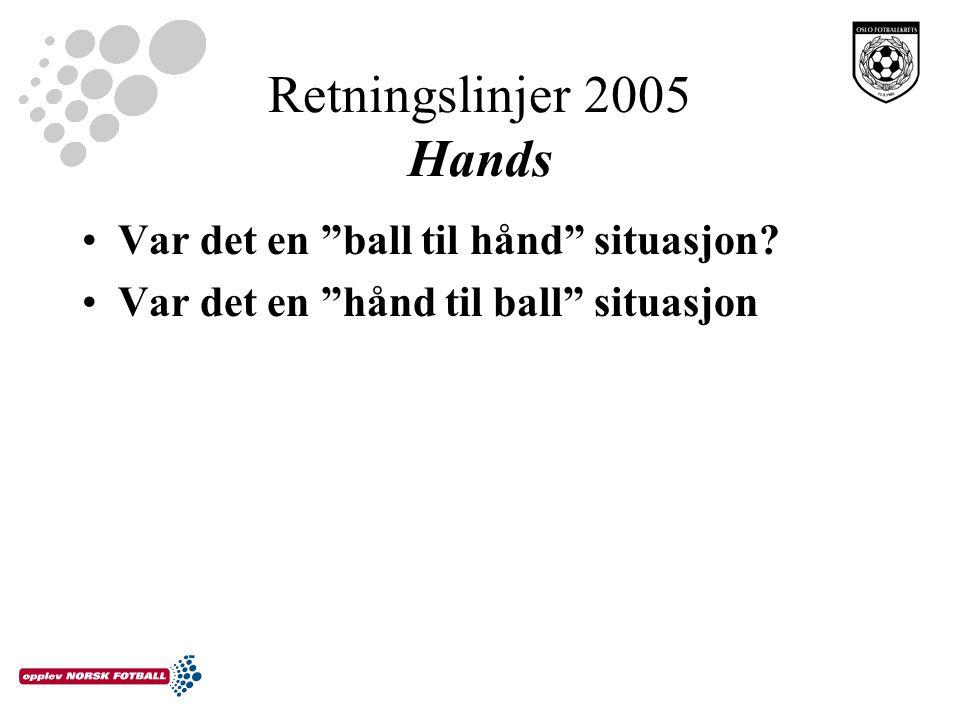 """Retningslinjer 2005 Hands Var det en """"ball til hånd"""" situasjon? Var det en """"hånd til ball"""" situasjon"""