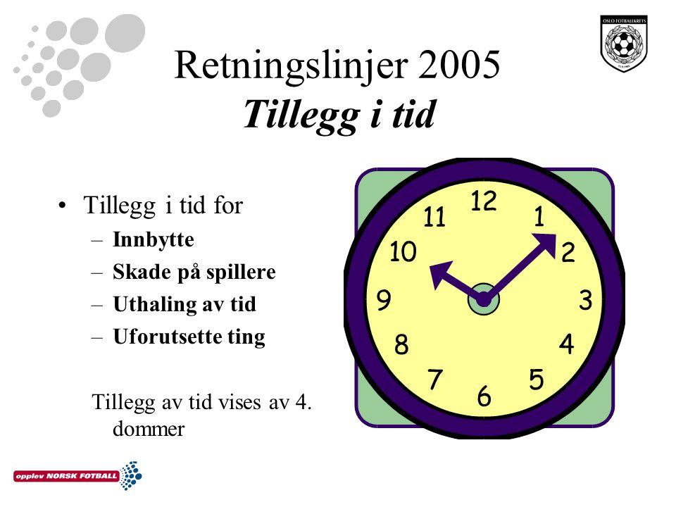 Retningslinjer 2005 Tillegg i tid Tillegg i tid for –Innbytte –Skade på spillere –Uthaling av tid –Uforutsette ting Tillegg av tid vises av 4. dommer