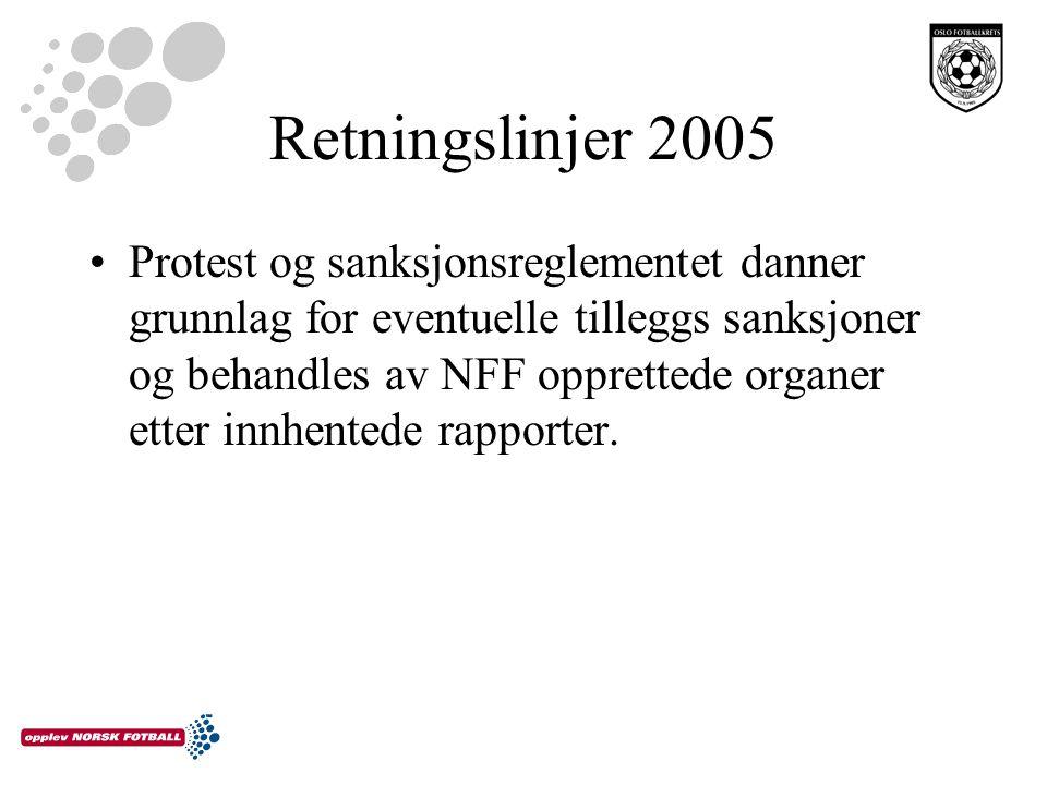 Retningslinjer 2005 Protest og sanksjonsreglementet danner grunnlag for eventuelle tilleggs sanksjoner og behandles av NFF opprettede organer etter innhentede rapporter.