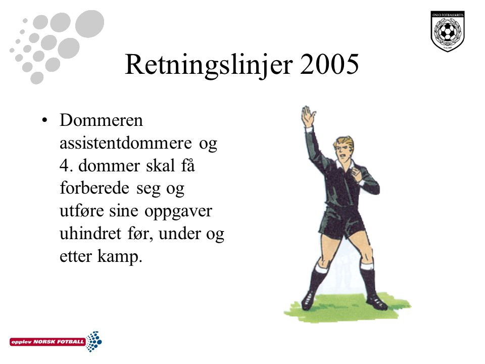 Retningslinjer 2005 Tillegg i tid Tillegg i tid for –Innbytte –Skade på spillere –Uthaling av tid –Uforutsette ting Tillegg av tid vises av 4.