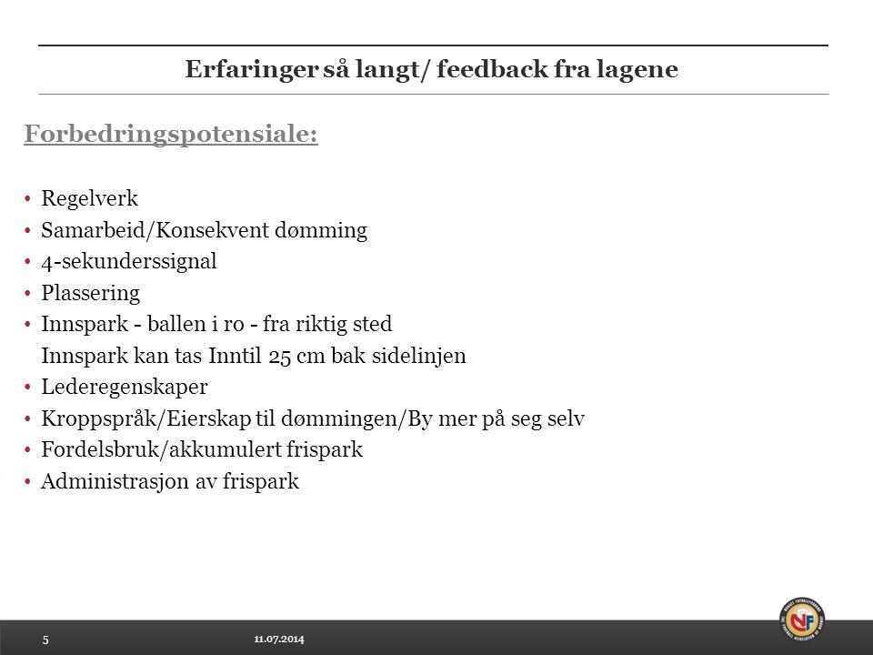 11.07.20145 Erfaringer så langt/ feedback fra lagene Forbedringspotensiale: Regelverk Samarbeid/Konsekvent dømming 4-sekunderssignal Plassering Innspa