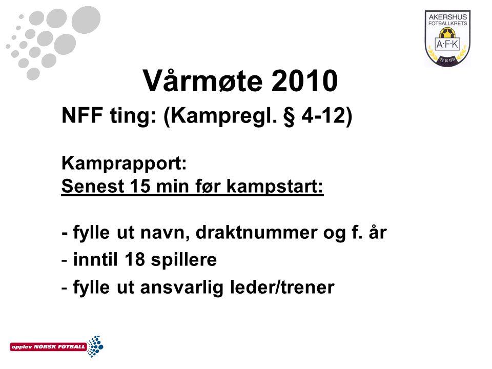 Vårmøte 2010 NFF ting: (Kampregl. § 4-12) Kamprapport: Senest 15 min før kampstart: - fylle ut navn, draktnummer og f. år - inntil 18 spillere - fylle