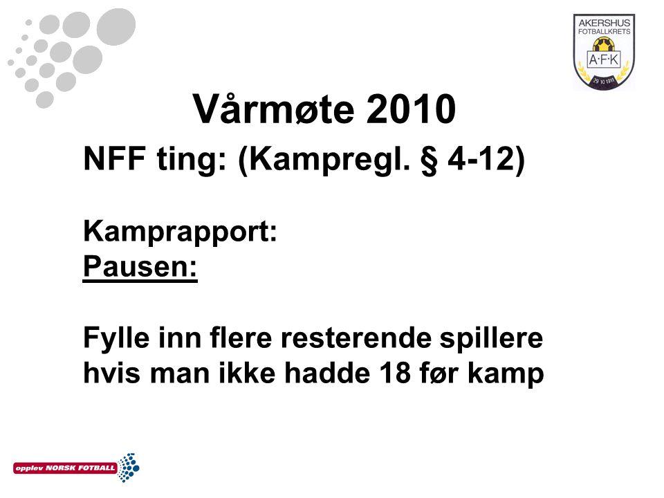 Vårmøte 2010 NFF ting: (Kampregl. § 4-12) Kamprapport: Pausen: Fylle inn flere resterende spillere hvis man ikke hadde 18 før kamp
