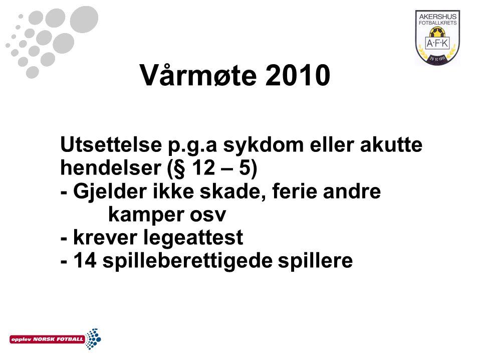 Vårmøte 2010 Utsettelse p.g.a sykdom eller akutte hendelser (§ 12 – 5) - Gjelder ikke skade, ferie andre kamper osv - krever legeattest - 14 spilleber