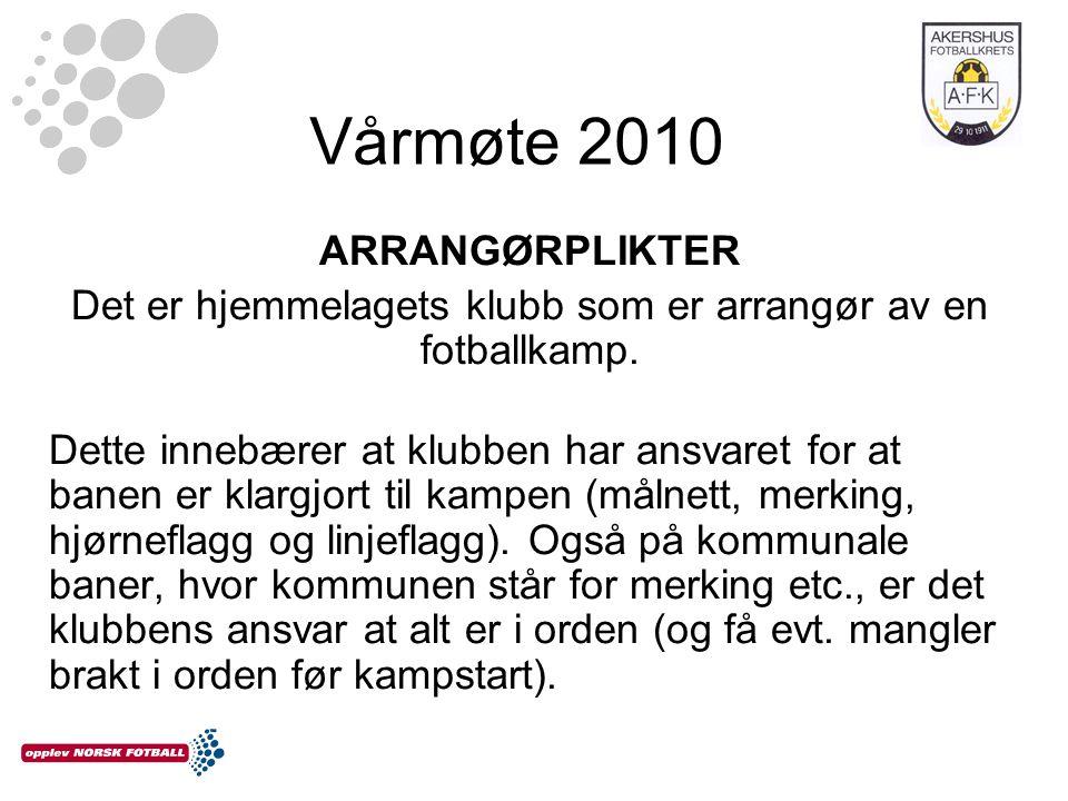 Vårmøte 2010 ARRANGØRPLIKTER Det er hjemmelagets klubb som er arrangør av en fotballkamp.