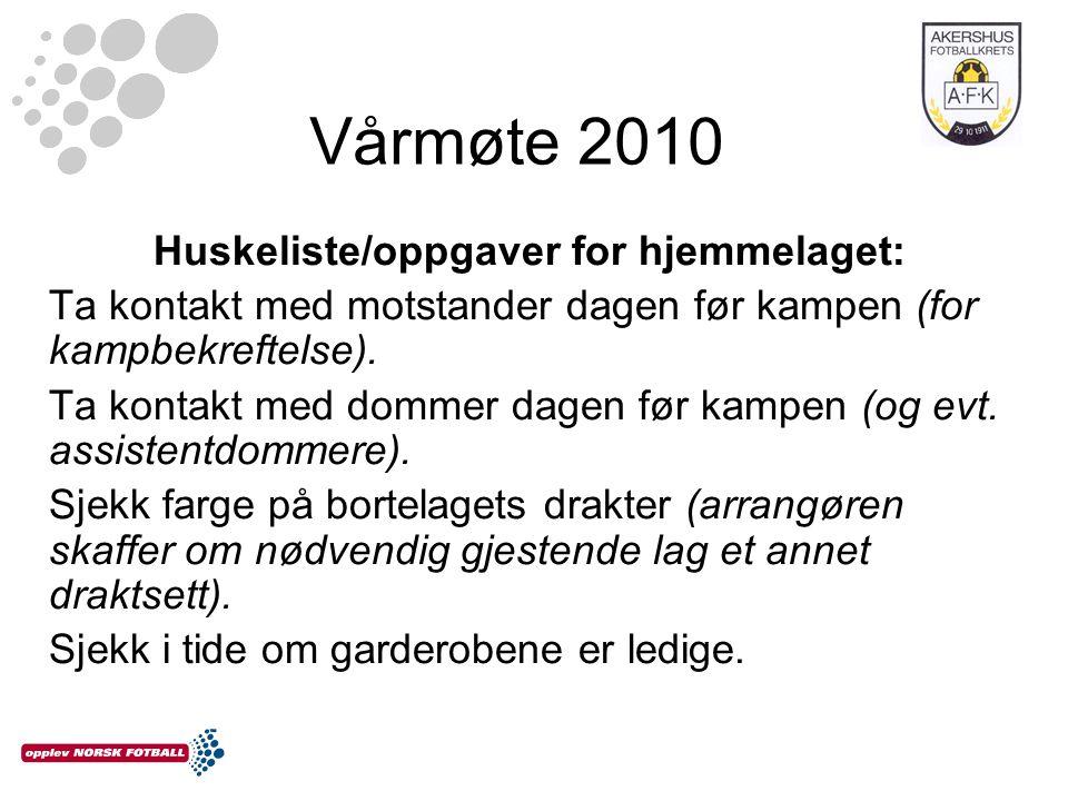 Vårmøte 2010 Huskeliste/oppgaver for hjemmelaget: Ta kontakt med motstander dagen før kampen (for kampbekreftelse).