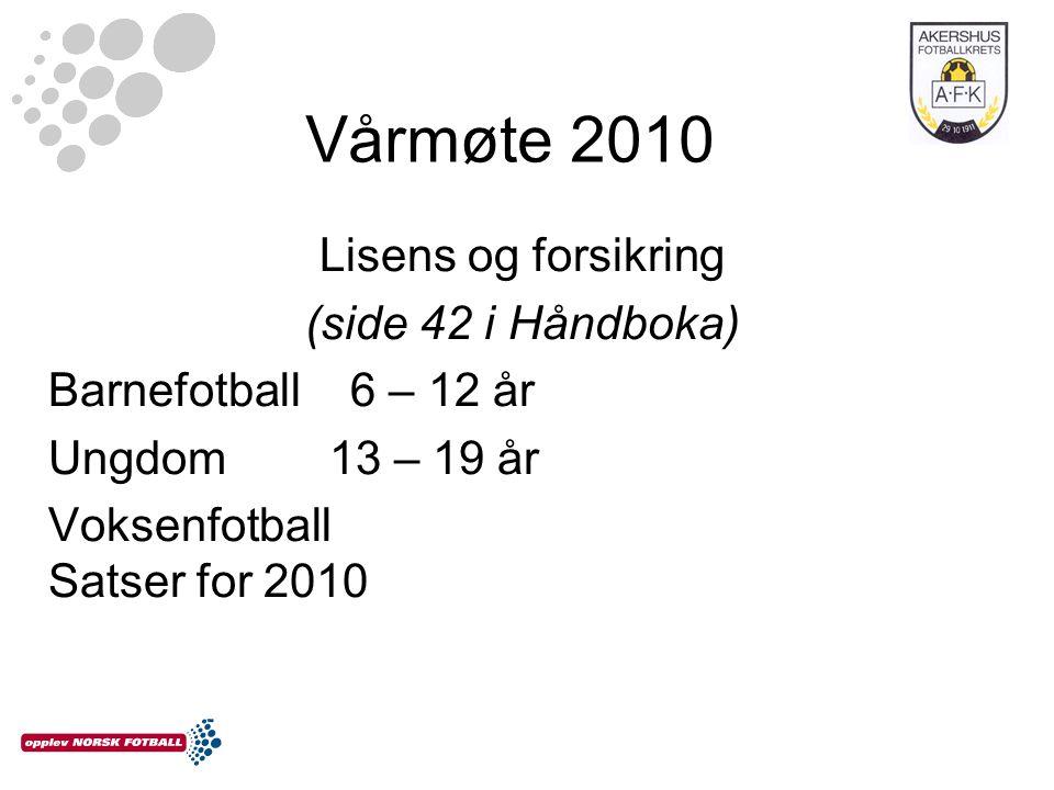 Vårmøte 2010 Lisens og forsikring (side 42 i Håndboka) Barnefotball 6 – 12 år Ungdom 13 – 19 år Voksenfotball Satser for 2010