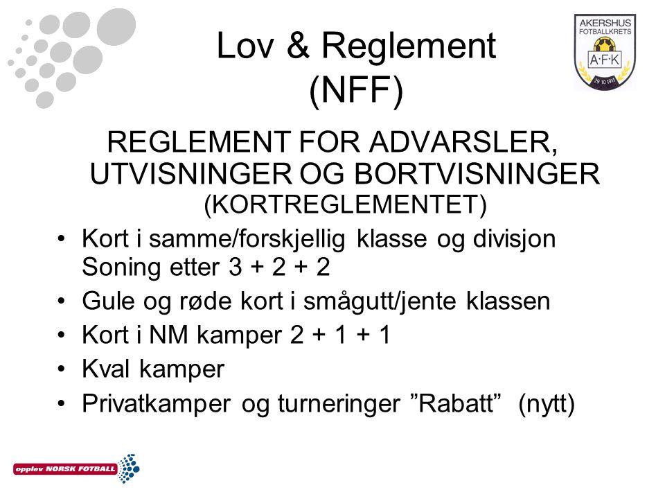 Lov & Reglement (NFF) REGLEMENT FOR ADVARSLER, UTVISNINGER OG BORTVISNINGER (KORTREGLEMENTET) Kort i samme/forskjellig klasse og divisjon Soning etter