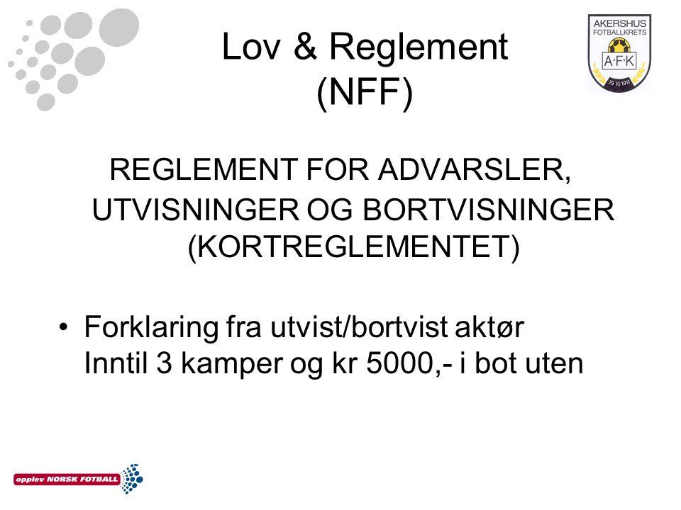 Lov & Reglement (NFF) REGLEMENT FOR ADVARSLER, UTVISNINGER OG BORTVISNINGER (KORTREGLEMENTET) Forklaring fra utvist/bortvist aktør Inntil 3 kamper og kr 5000,- i bot uten