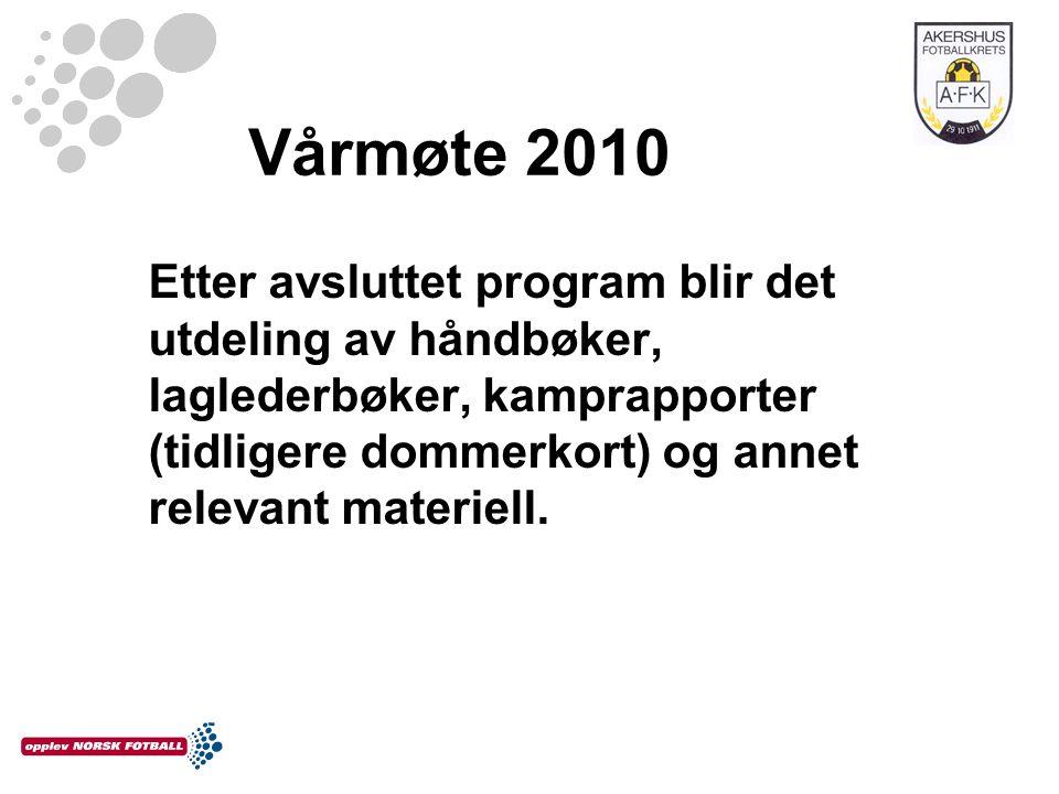 Vårmøte 2010 Etter avsluttet program blir det utdeling av håndbøker, laglederbøker, kamprapporter (tidligere dommerkort) og annet relevant materiell.