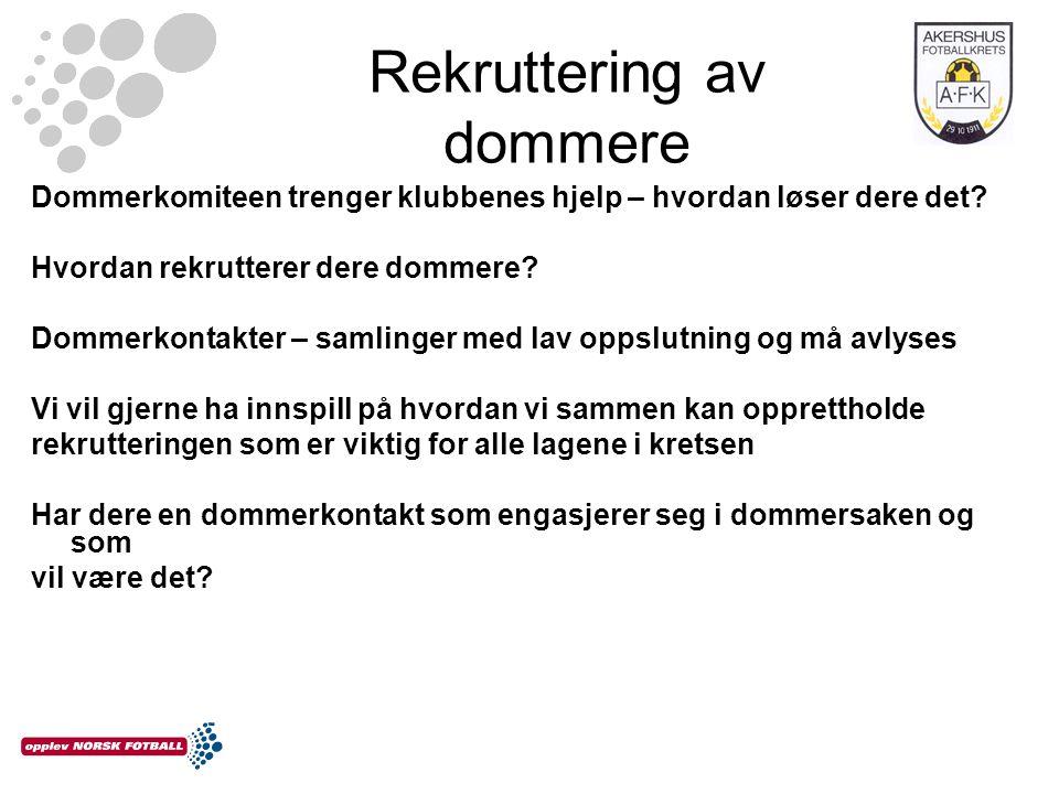 Rekruttering av dommere Dommerkomiteen trenger klubbenes hjelp – hvordan løser dere det.