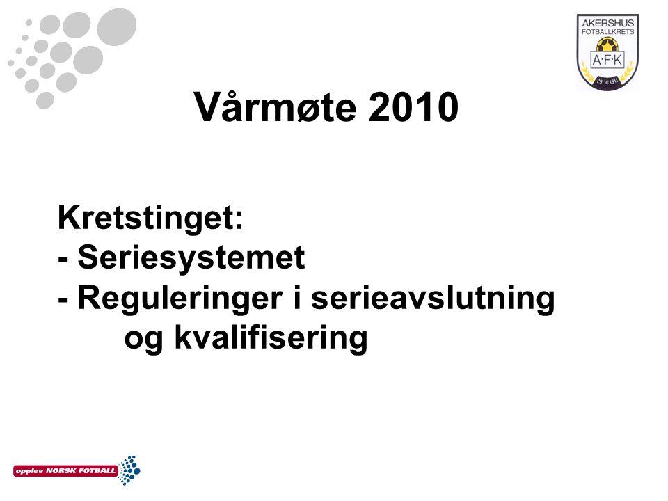 Vårmøte 2010 Kretstinget: - Seriesystemet - Reguleringer i serieavslutning og kvalifisering