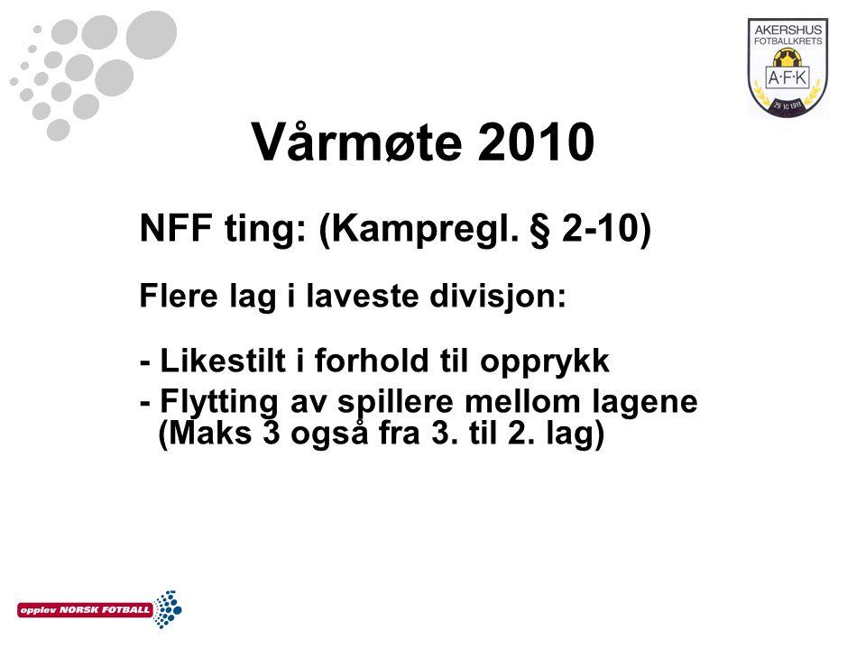 Vårmøte 2010 NFF ting: (Kampregl. § 2-10) Flere lag i laveste divisjon: - Likestilt i forhold til opprykk - Flytting av spillere mellom lagene (Maks 3