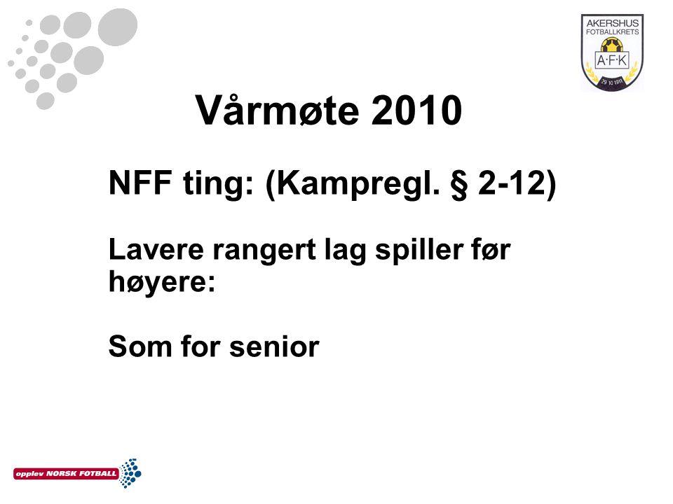 Vårmøte 2010 NFF ting: (Kampregl. § 2-12) Lavere rangert lag spiller før høyere: Som for senior