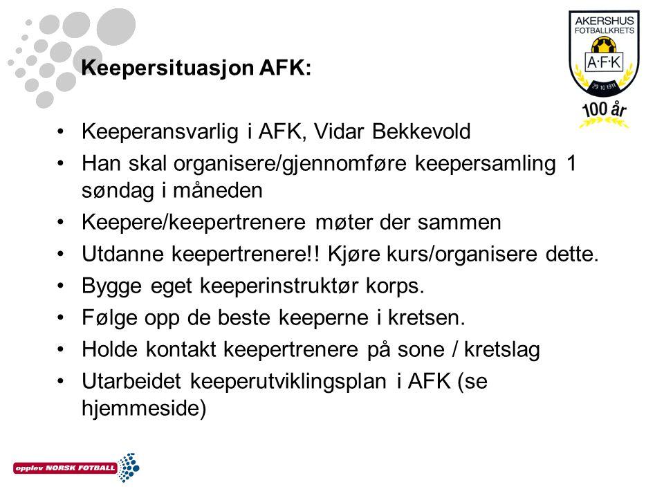 Keepersituasjon AFK: Keeperansvarlig i AFK, Vidar Bekkevold Han skal organisere/gjennomføre keepersamling 1 søndag i måneden Keepere/keepertrenere møt
