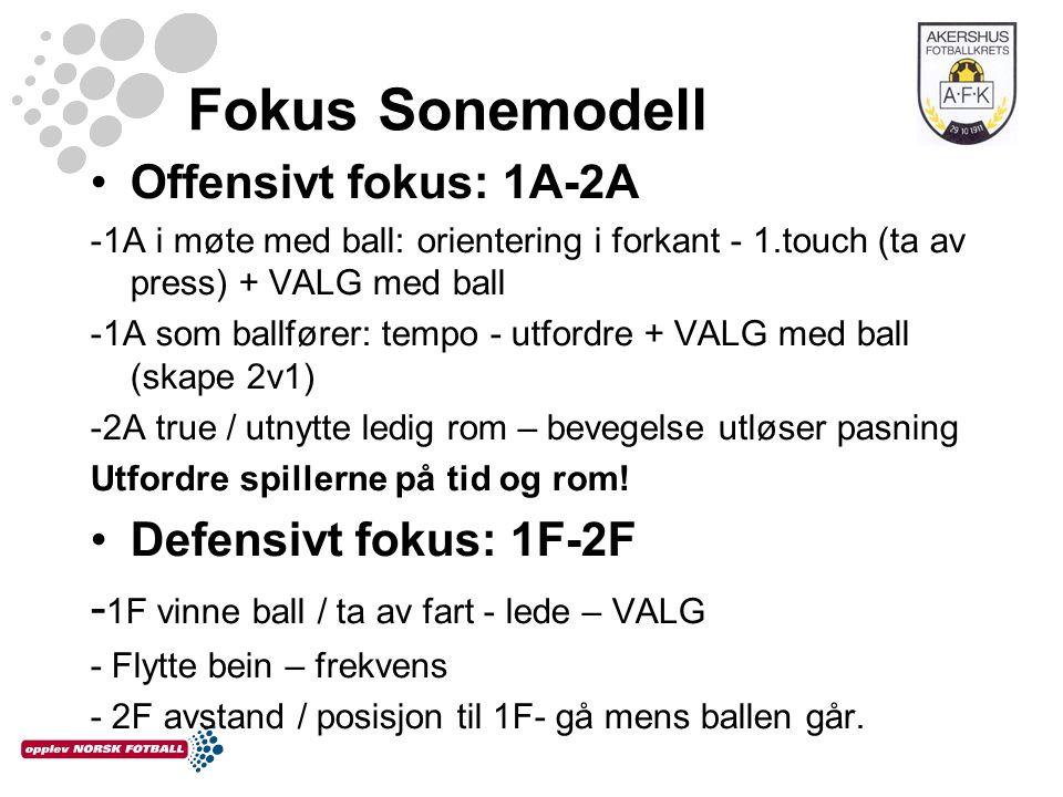 Treningsøkta høsten 2012 Fokus på det relasjonelle 4 første med off fokus, og 3 neste med def fokus 1.Fokus 1A – valg/utførelse og 2A-true/utnytte rom 2.Fokus 1A - valg / utførelse og 2A- true/utnytte rom 3.Fokus 1A og 2A i helhet på full bane (eks 8v8 i tre ledd) 4.Fokus 1A og 2A i helhet på full bane 1.Fokus 1F – valg/utførelse og 2F – avstand/posisjon 2.Fokus 1F – valg/utførelse og 2F – avstand/posisjon 3.Fokus 1F og 2F i helhet på full bane På alle treninger har vi diverse pasningsøvelser som en naturlig del av oppvarmingen.