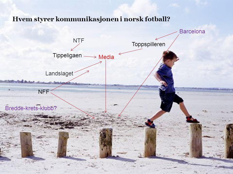 11.07.2014 Hvem styrer kommunikasjonen i norsk fotball? Barcelona Toppspilleren Media NTF Tippeligaen Landslaget NFF Bredde-krets-klubb?
