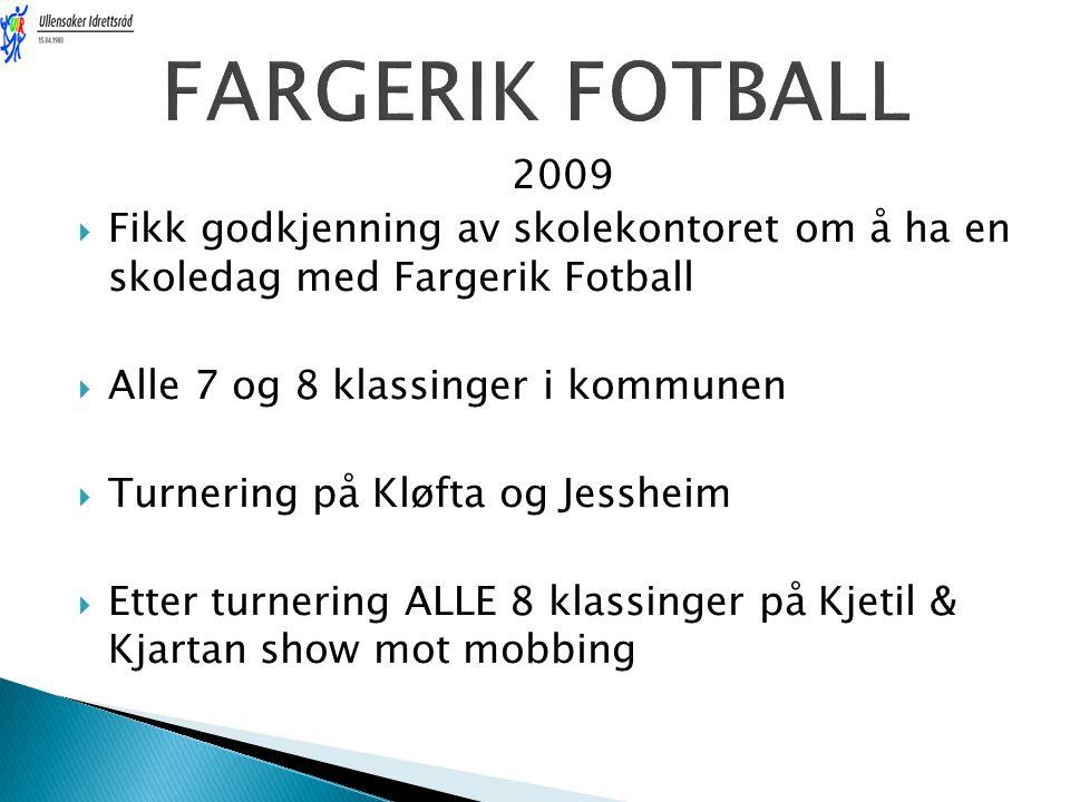 2009  Fikk godkjenning av skolekontoret om å ha en skoledag med Fargerik Fotball  Alle 7 og 8 klassinger i kommunen  Turnering på Kløfta og Jesshei