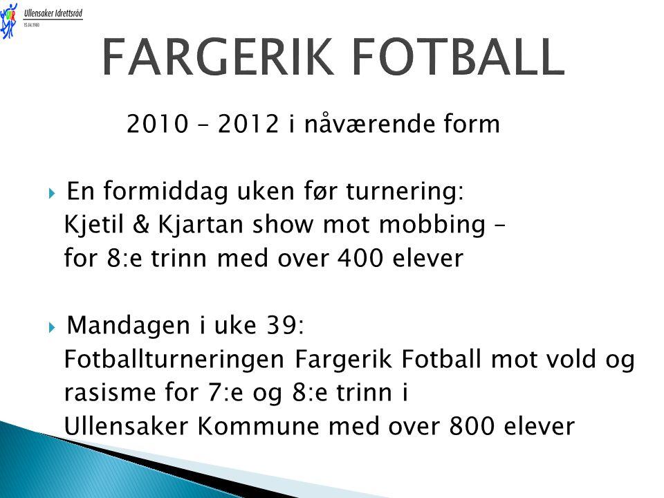 2010 – 2012 i nåværende form  En formiddag uken før turnering: Kjetil & Kjartan show mot mobbing – for 8:e trinn med over 400 elever  Mandagen i uke
