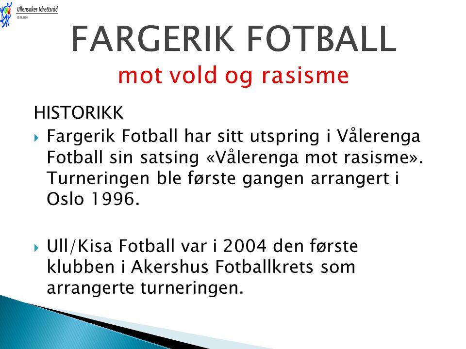 HISTORIKK  Fargerik Fotball har sitt utspring i Vålerenga Fotball sin satsing «Vålerenga mot rasisme». Turneringen ble første gangen arrangert i Oslo