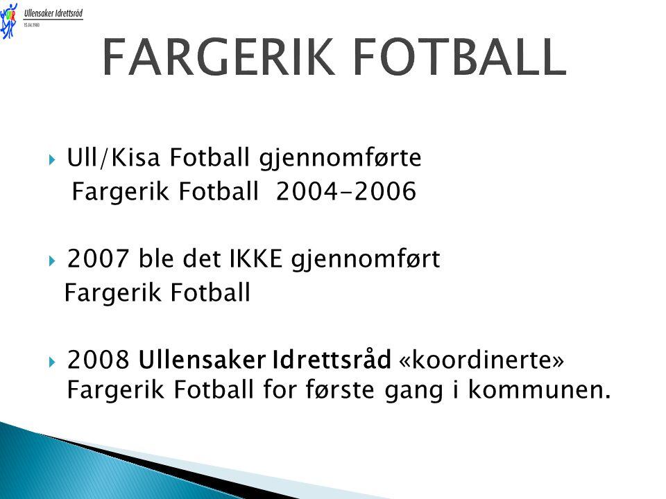  Ull/Kisa Fotball gjennomførte Fargerik Fotball 2004-2006  2007 ble det IKKE gjennomført Fargerik Fotball  2008 Ullensaker Idrettsråd «koordinerte» Fargerik Fotball for første gang i kommunen.