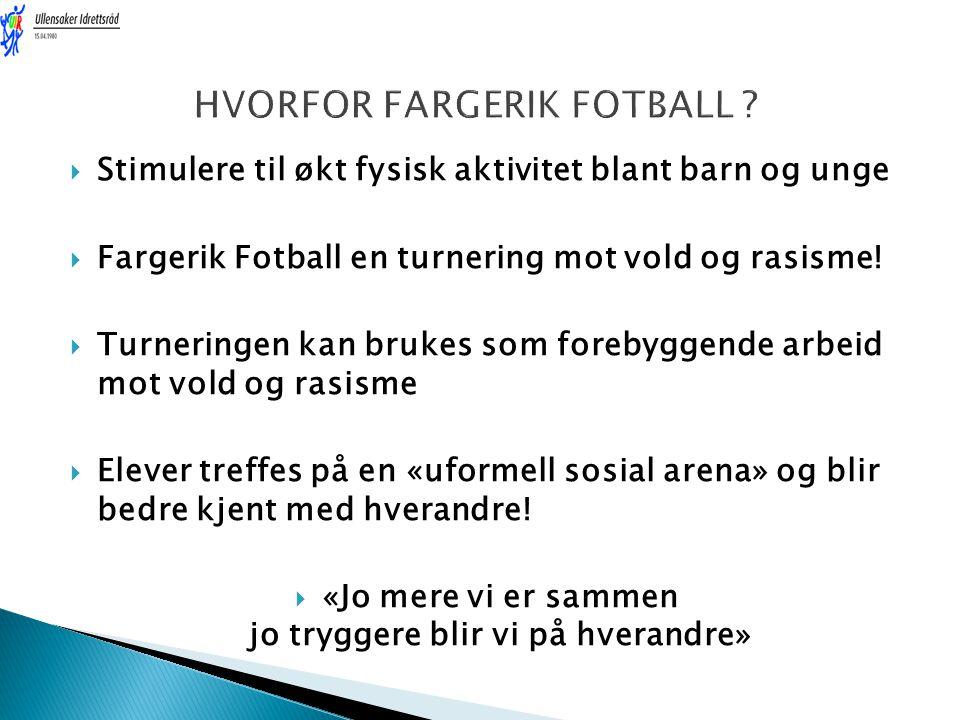  Stimulere til økt fysisk aktivitet blant barn og unge  Fargerik Fotball en turnering mot vold og rasisme!  Turneringen kan brukes som forebyggende