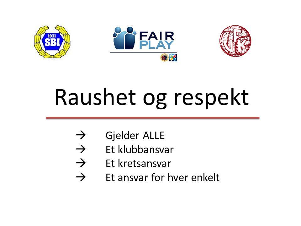 Raushet og respekt  Gjelder ALLE  Et klubbansvar  Et kretsansvar  Et ansvar for hver enkelt