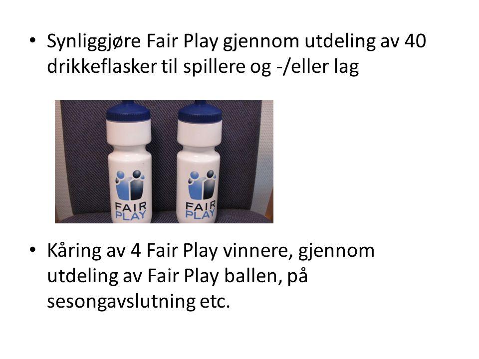 Synliggjøre Fair Play gjennom utdeling av 40 drikkeflasker til spillere og -/eller lag Kåring av 4 Fair Play vinnere, gjennom utdeling av Fair Play ba