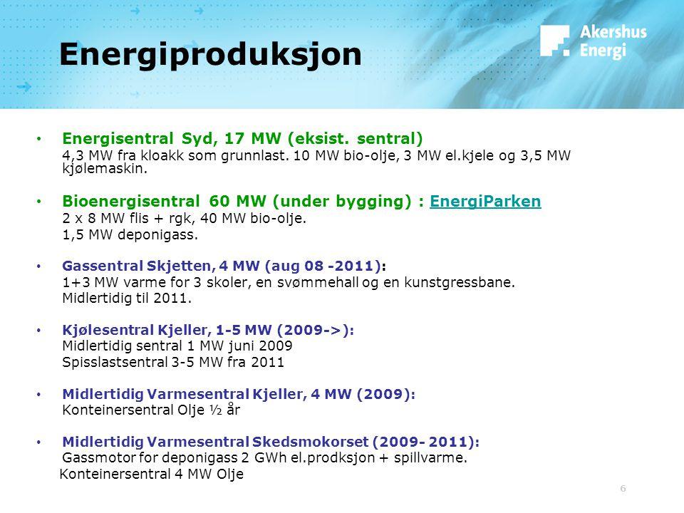 6 Energiproduksjon Energisentral Syd, 17 MW (eksist. sentral) 4,3 MW fra kloakk som grunnlast. 10 MW bio-olje, 3 MW el.kjele og 3,5 MW kjølemaskin. Bi