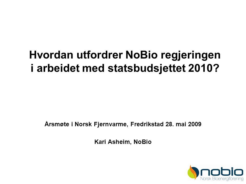 Hvordan utfordrer NoBio regjeringen i arbeidet med statsbudsjettet 2010? Årsmøte i Norsk Fjernvarme, Fredrikstad 28. mai 2009 Kari Asheim, NoBio