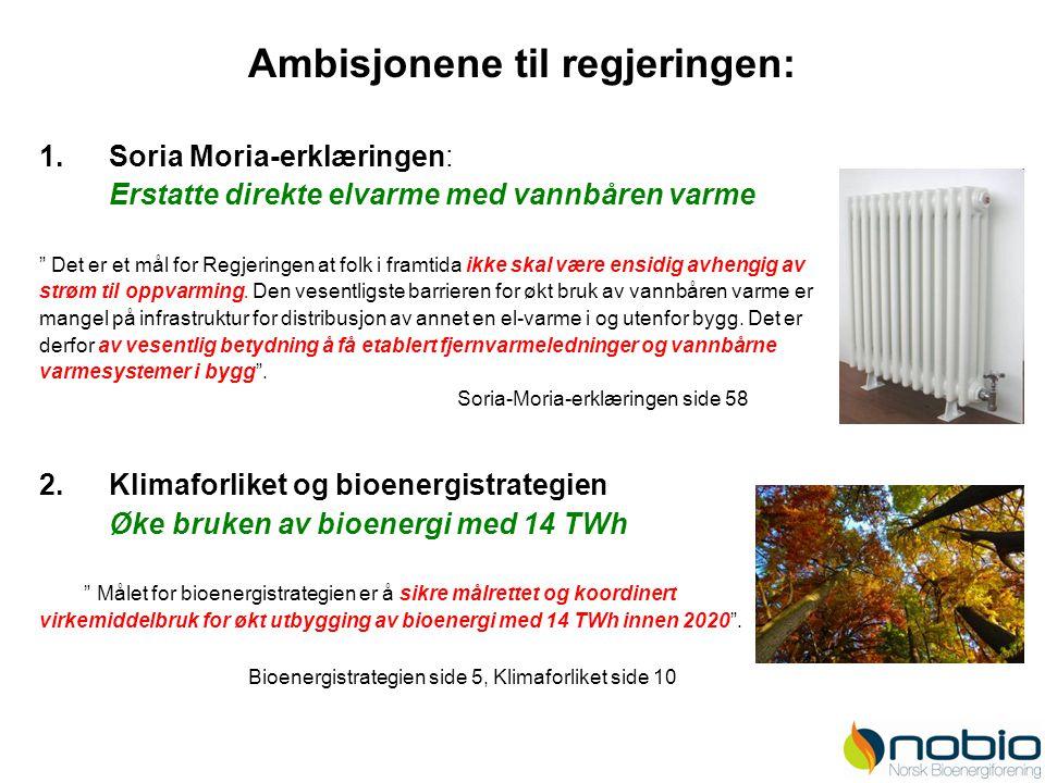 """Ambisjonene til regjeringen: 1.Soria Moria-erklæringen: Erstatte direkte elvarme med vannbåren varme """" Det er et mål for Regjeringen at folk i framtid"""