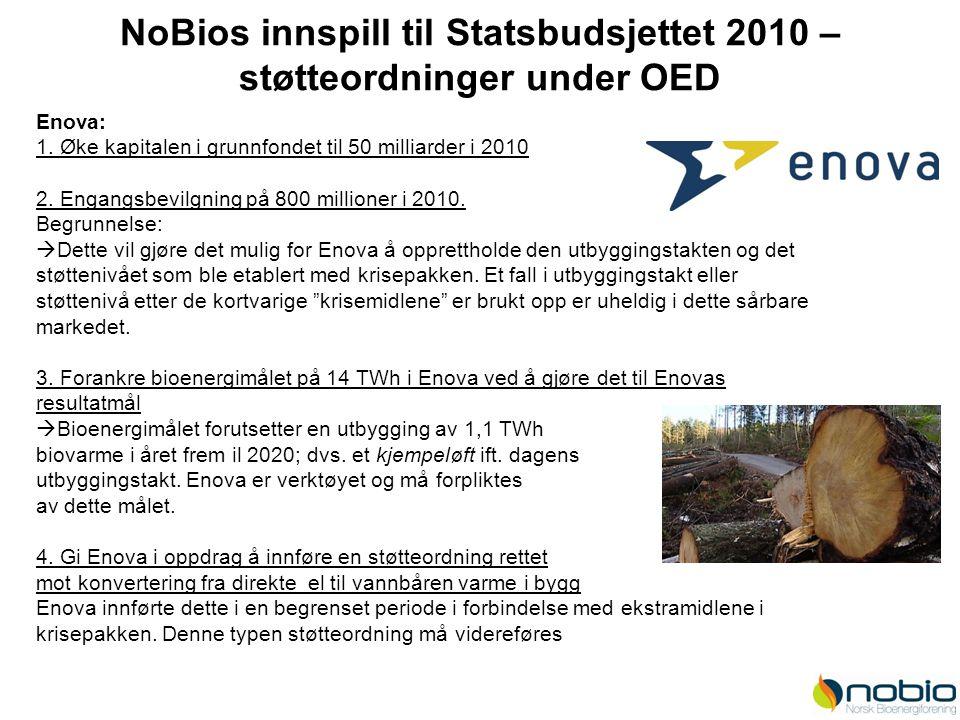 NoBios innspill til Statsbudsjettet 2010 – støtteordninger under OED Enova: 1. Øke kapitalen i grunnfondet til 50 milliarder i 2010 2. Engangsbevilgni