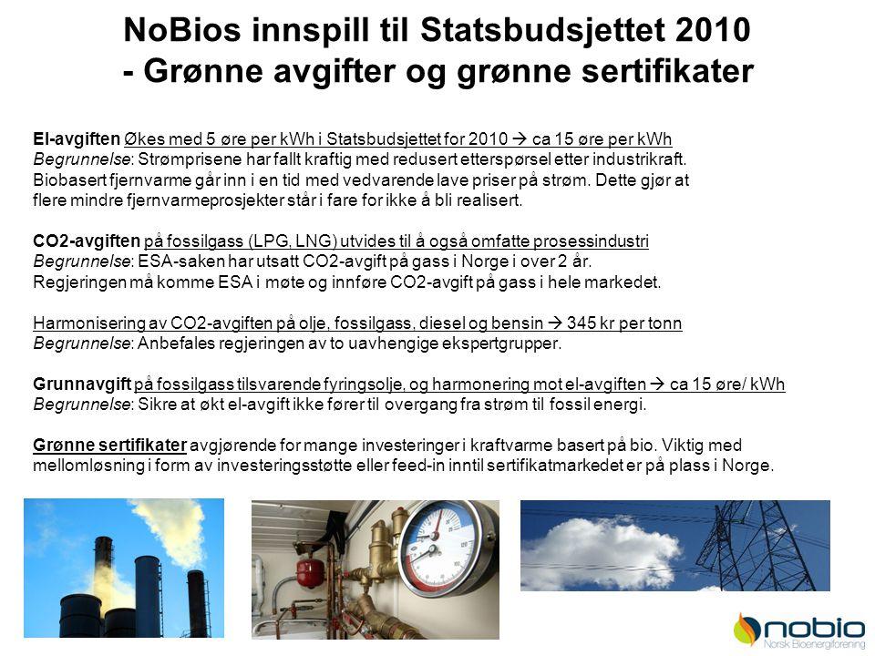 NoBios innspill til Statsbudsjettet 2010 - Grønne avgifter og grønne sertifikater El-avgiften Økes med 5 øre per kWh i Statsbudsjettet for 2010  ca 1