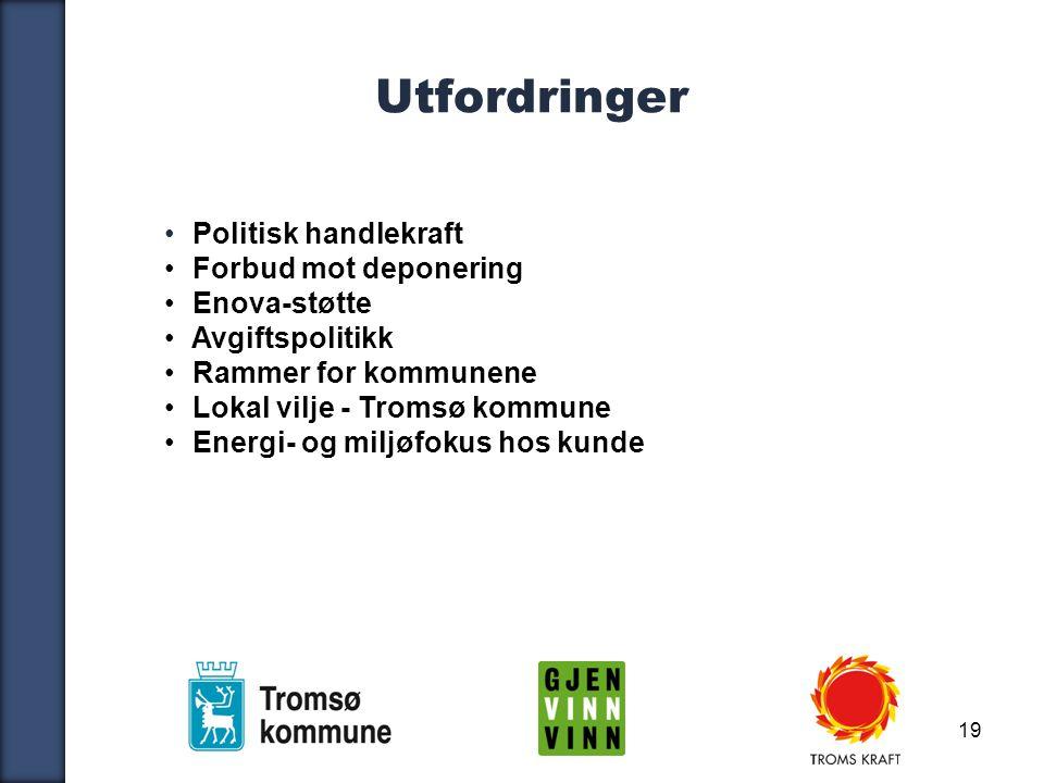 19 Utfordringer Politisk handlekraft Forbud mot deponering Enova-støtte Avgiftspolitikk Rammer for kommunene Lokal vilje - Tromsø kommune Energi- og miljøfokus hos kunde