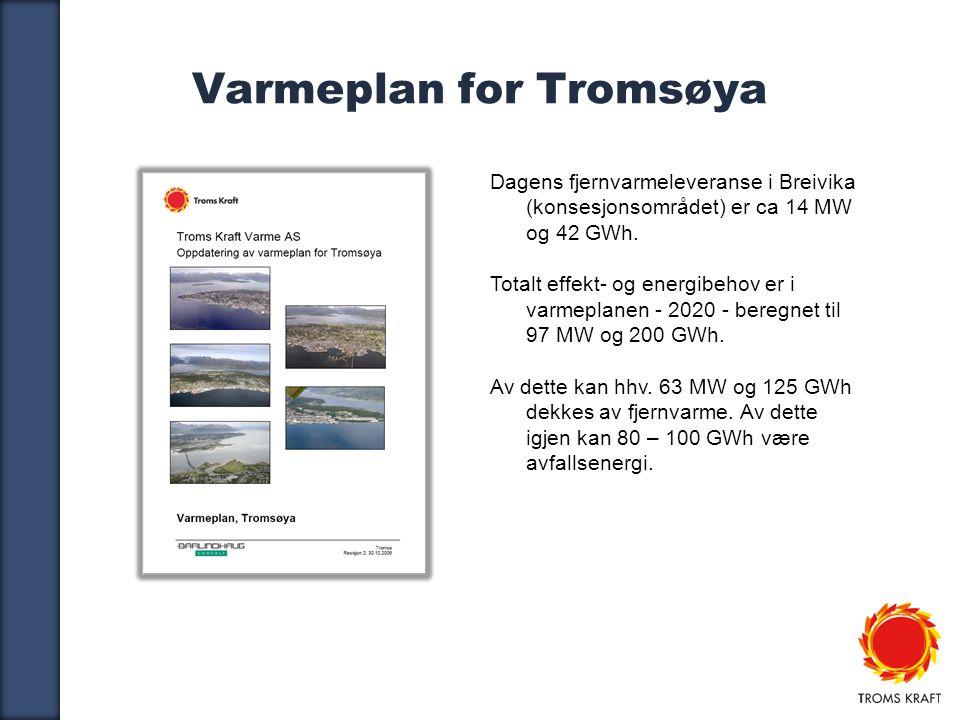 7 Varmeplan for Tromsøya Dagens fjernvarmeleveranse i Breivika (konsesjonsområdet) er ca 14 MW og 42 GWh.